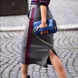 NWT Zara Checked Tartan Side Stripe Pencil Skirt